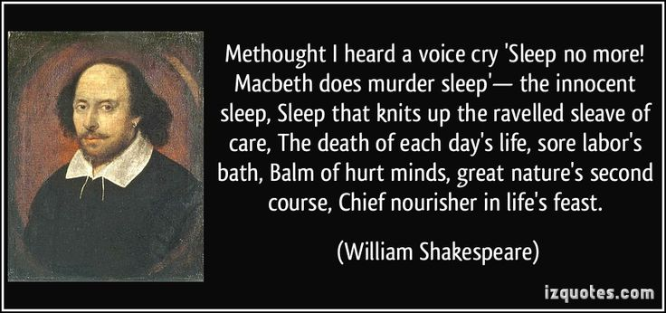 """This quote comes after the time that Macbeth kills the King of Cawdor, Duncan. At this point  Macbeth feels the need to be caught with the dagger and his bloody hands. """"Sleep that knits up the ravelled sleave of care..."""" represents the idea of something being confused or complicated, and this is what Macbeth feels at the time, he feels that sleep is what secures what has been tangled or confused in life."""