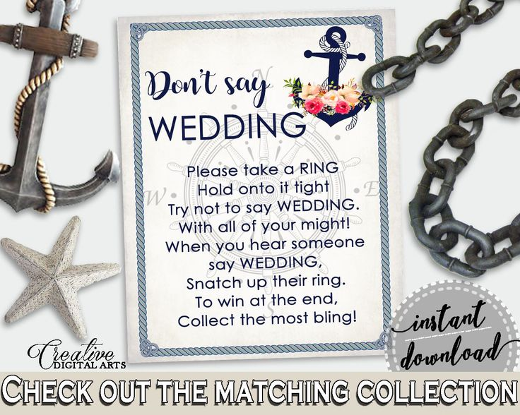 Don't Say Wedding Game in Nautical Anchor Flowers Bridal Shower Navy Blue Theme, funny bridal game, nautical theme, party ideas - 87BSZ - Digital Product bridal shower wedding bride to be bridesmaids