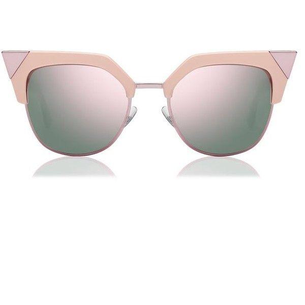 Fendi Iridia Cat Eye Sunglasses ($390) ❤ liked on Polyvore featuring accessories, eyewear, sunglasses, pink, pink glasses, cat eye glasses, fendi, fendi eyewear and cat eye sunglasses