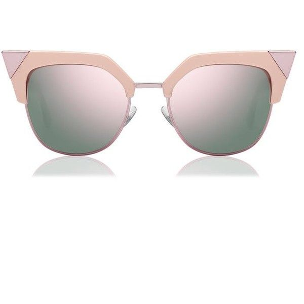 Fendi Iridia Cat Eye Sunglasses ($390) ❤ liked on Polyvore featuring accessories, eyewear, sunglasses, pink, pink glasses, cat eye glasses, fendi, fendi eyewear and cat eye sunglasses