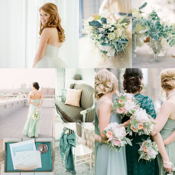 dusty teal wedding colors | Top row: bride in Hayley Paige gown, image by L Hewitt Photography via ...