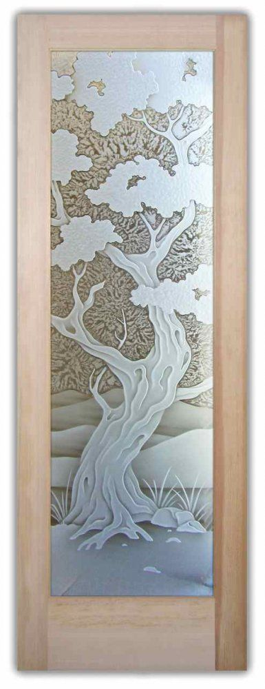 Bonsai 3D Interior Glass Door - Etched Glass Door -  Bathroom doors, laundry room doors and glass pantry doors with frosted glass designs by Sans Soucie become the conversation piece of any room.   Shipping is just $99 to most states, $159-169 to some East coast regions, custom packed and fully insured with a 1-4 day transit time.   Available any size, as interior door glass insert only or pre-installed in an interior door frame, with 8 wood types available.