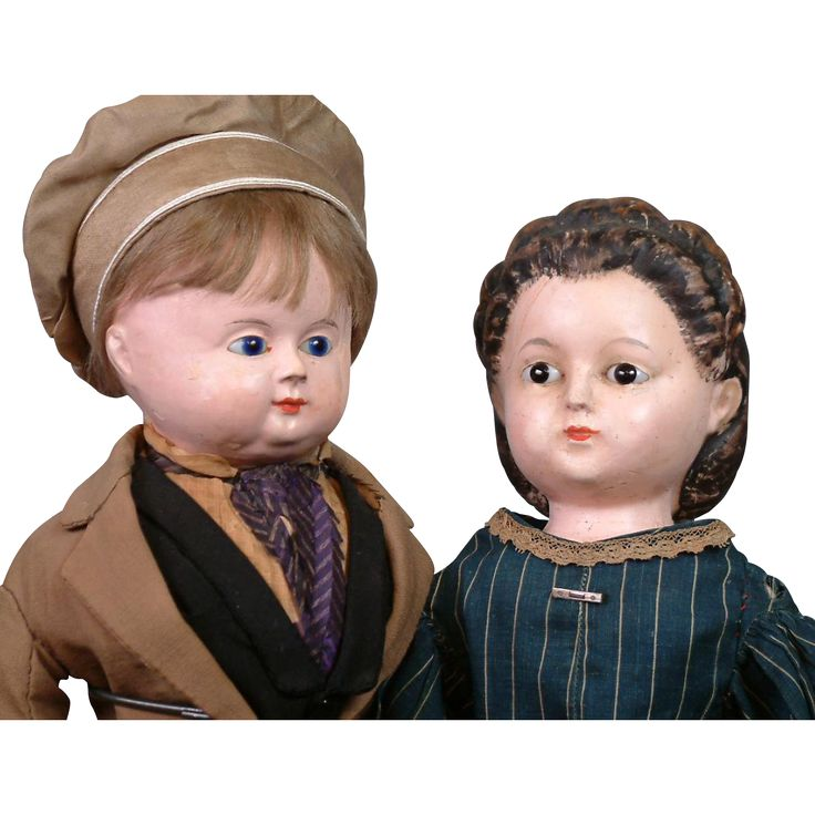 Incredible Early Papier Mache Couple C. 1835-45 ~All Original Frenchman And…
