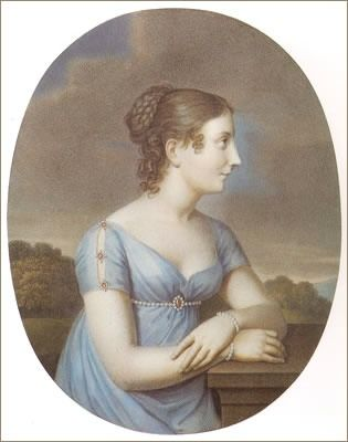 1815 Stephanie de Beauharnais-Baden wearing pale blue dress by Aloys Keßler after Johann Heinrich Schroeder