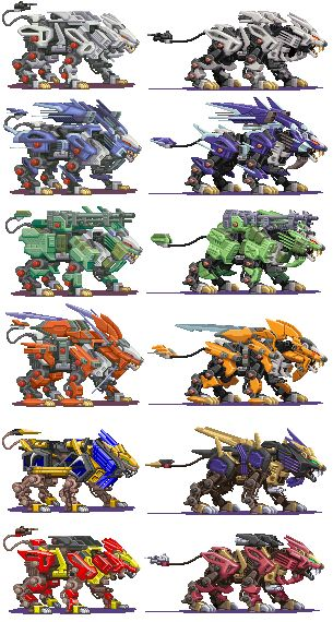This is a collection of the smaller sprites from the GBA Zoids games.