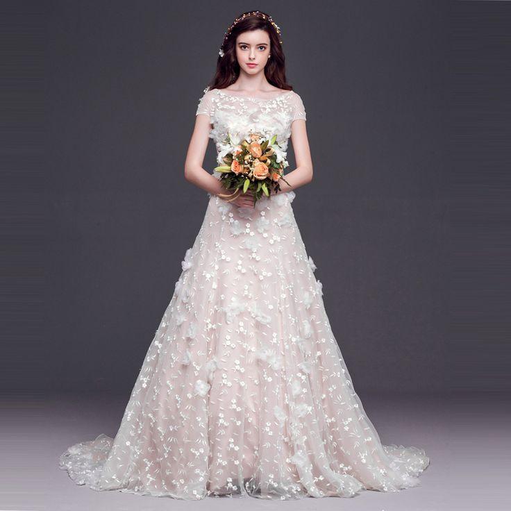 2017 A line Bateau Short Sleeve Appliques Bridal Dress vestido de noiva princesa Cheap Lace Wedding Dresses With Lace Up Back