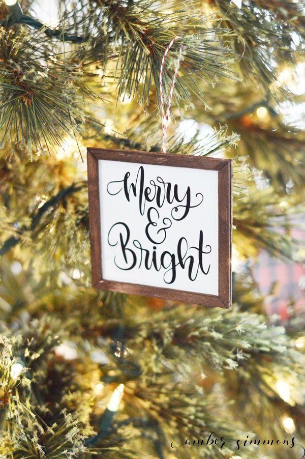 Mini Farmhouse Sign Christmas Ornaments With The Cricut Maker Amber Simmons Farmhouse Signs Diy Christmas Ornaments Diy Christmas Tree