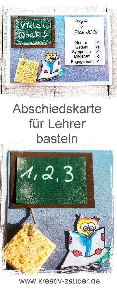 Vorlage für eine originelle Abschiedskarte für Lehrer oder Lehrerin kurz vor den Sommerferien oder zur Pension