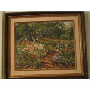 """Signed lower right (recto), titled """"(Summer Garden) Red Poppies & Sunlight"""", signed """"by Wayne Morrell"""", dated """"1971"""", and located """"Rockport, Mass"""" in artist's hand (verso), matted and framed   Heigh..."""