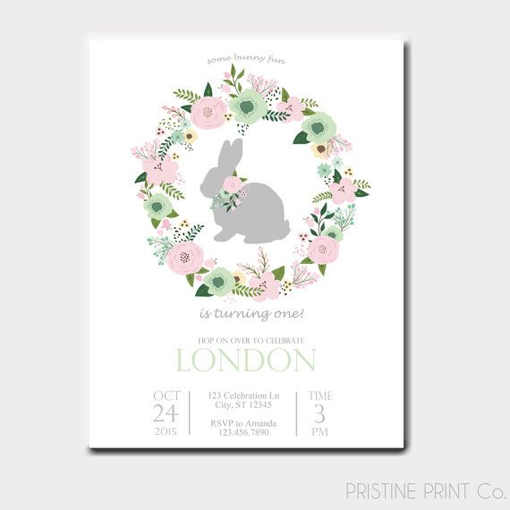 Some Bunny Birthday Invitation  Some Bunny Is by PristinePrintCo