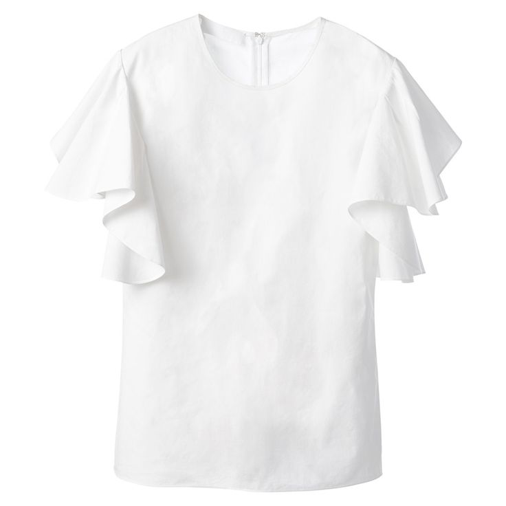 A crisp blouse that flawlessly combines structure with delicate, fluttery sleeves is essential for spring.