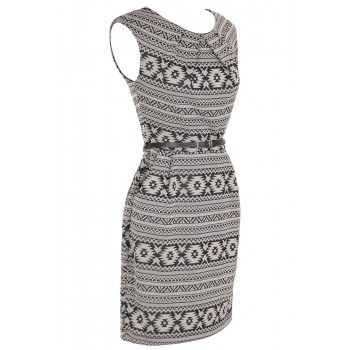 Aztec Print Belted Sheath Dress - WHAT'S NEW