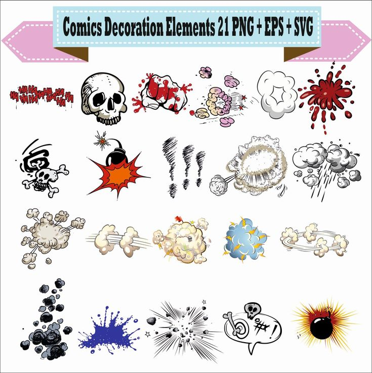 Comics Decoration Elements Explosion Speech Bubbles Play Pack Vector Clipart PNG EPS SVG Digital Files Scrapbook Supplies Instant Download by VectorArtShop on Etsy