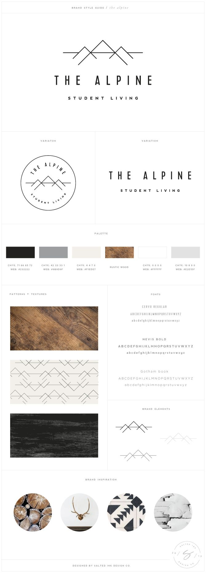 The Alpine Brand Design by Salted Ink | www.saltedink.com | brand design, brand designer, graphic design, brand board, brand guide, Charlotte NC |