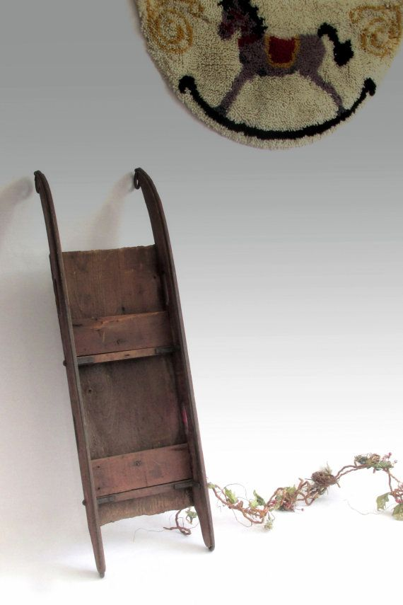 Rustic Antique Red Sled. Amish Farm Sled. 19th by owlsongvintage