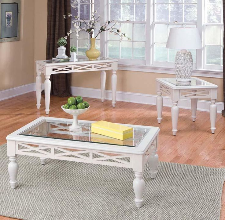White Glass Top Coffee Table Set