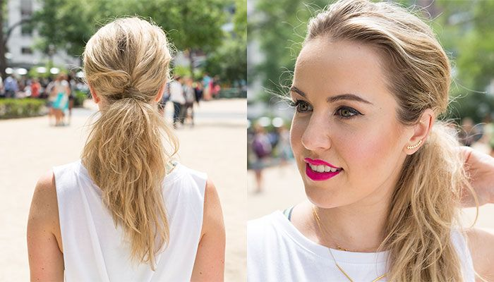 Learn how to get a simple, yet chic, messy low ponytail in this hairstyle tutorial.