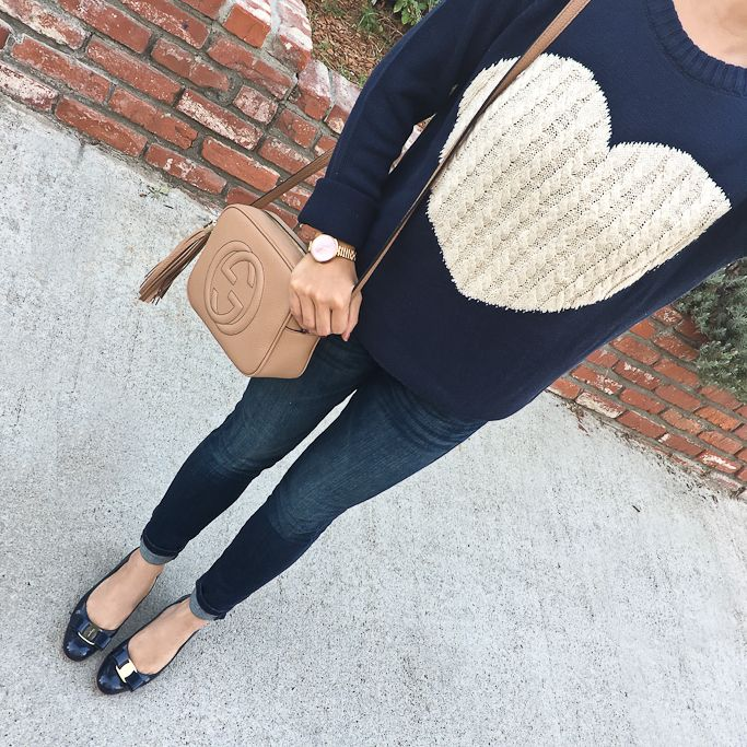 Petite Indigo Skinny Ankle Jean, Ferragamo vera pumps in navy, Gucci soho disco bag, heart sweater, fall fashion, sweater weather, petite outfits, casual outfits - click the photo for outfit details!