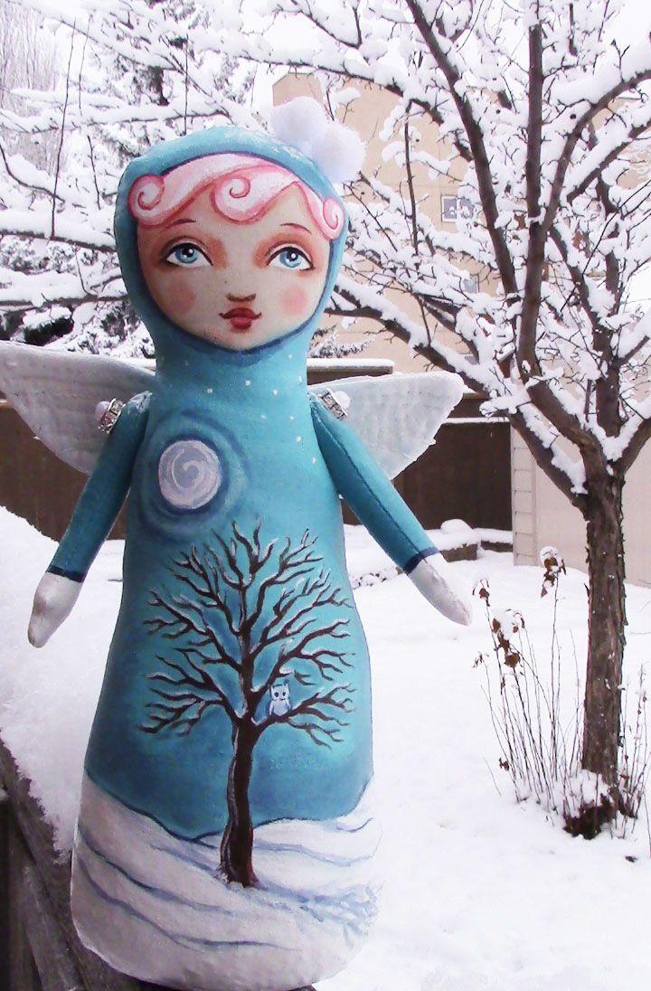 Snowy Owl Angel - Stump Doll by Hally Levesque