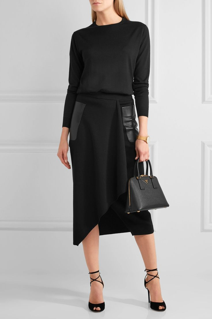 Max Mara | Leather-trimmed wrap-effect wool pencil skirt | NET-A-PORTER.COM