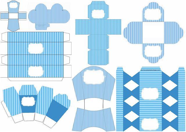 Rayas Azul y Celeste: Cajas para Imprimir Gratis.