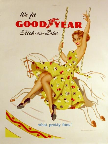 Charming 1950s advertisement for Goodyear Stick-on-Soles.