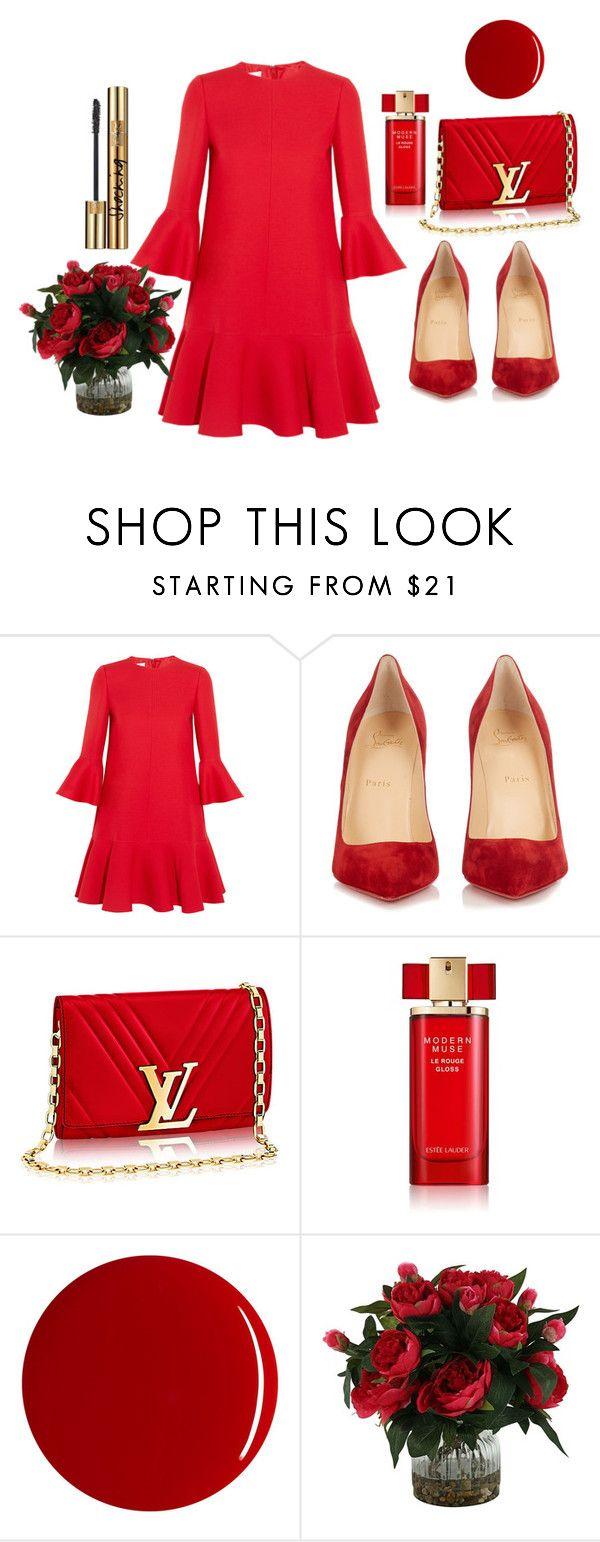 """RED"" by osirisarambuloh on Polyvore featuring moda, Valentino, Christian Louboutin, Estée Lauder, RGB y Yves Saint Laurent"