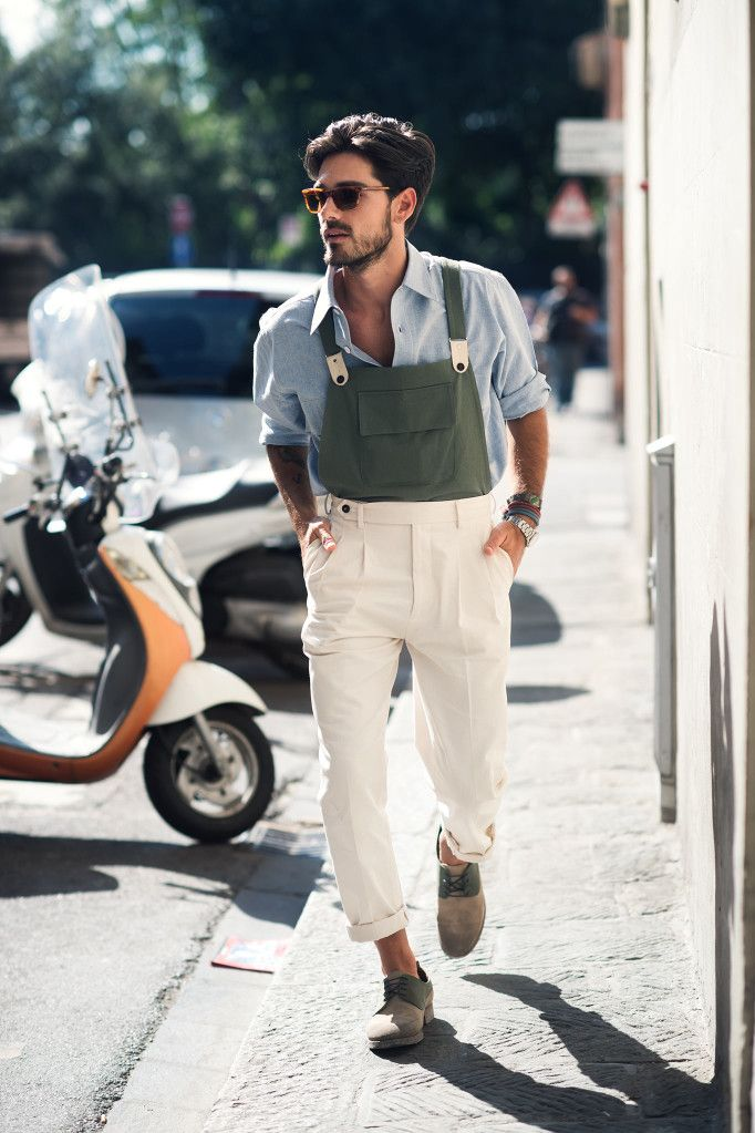 Italian lumbersexual sporting faux overall, Giotto Calendoli wears Grand Pa 1930 overalls with a Givenchy tie and Oliver Peoples sunglasses // menswear overall style + fashion inspiration