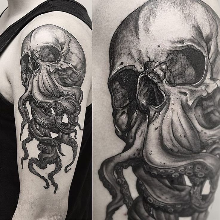 #skull #tattoo #inked #tentacles #dark #darkartists #blxckink #black #neotraditional #blackandgrey #planetneedletattoo