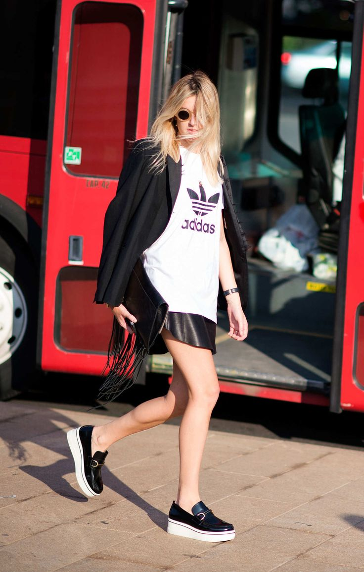 Camille Charrière Adidas tee meets Stella McCartney flatforms for that tried-and-true high-low mix.  Photo: I'M KOO