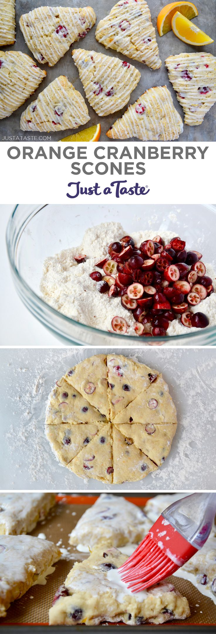 Add a seasonal spin to a breakfast favorite with light and tender Glazed Orange Cranberry Scones loaded with fresh fruit. | recipe from justataste.com #recipes #breakfast #brunch #baking