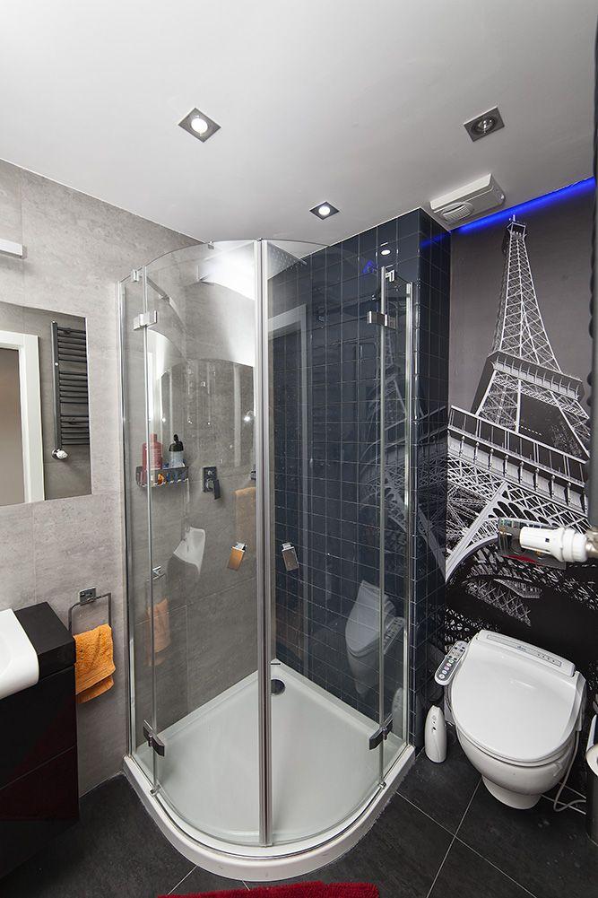 Wnętrza, lazienka z prysznicem - szara z akcentem