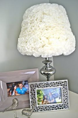Beautiful Lamp. DIY. This is made from folded and hot glued COFFEE FILTERS! AhhmaZing (: