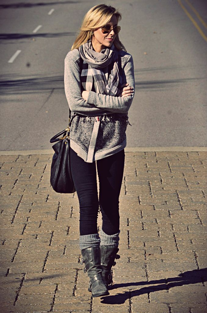 Happily Grey's Winter Fashions. Love these leg warmers under the boots!