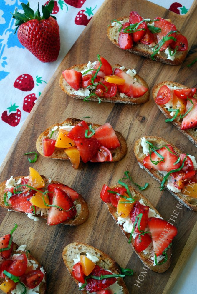 Strawberry Bruschetta. Pin leads to what looks like a cool and delicious spring/summer recipe. YUMMY