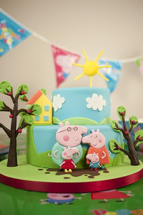 Peppa Pig Cake Ideas - Family Cake Birthday Party Cake, Peppa Pig, George Pig, Daddy Pig, Mummy Pig, Peppa House, Muddy Puddle, Red Car