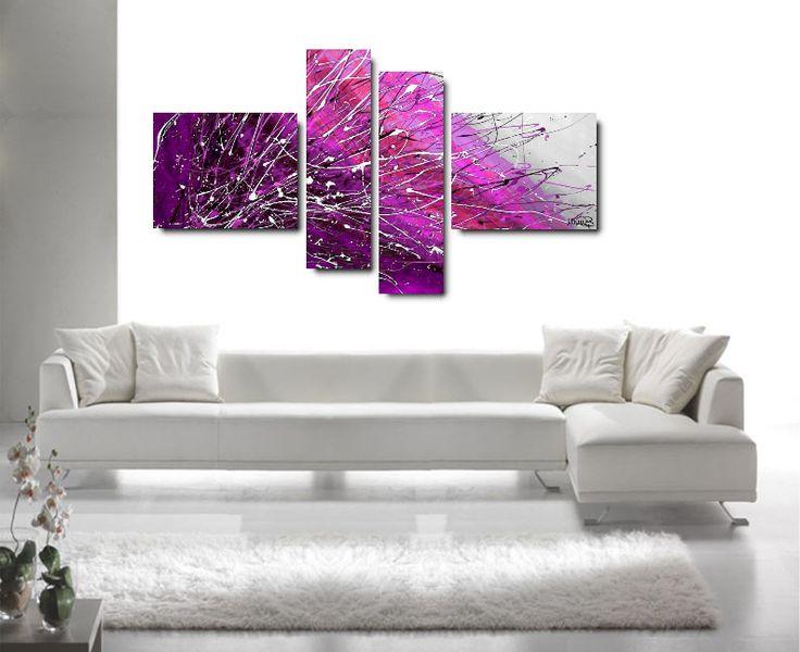 Produzione Quadri moderni astratti  - 100% dipinti a mano Quadri Moderni Astratti Toni del lilla, viola, fucsia, bianco