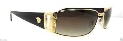 Authentic Italy Versace Sunglasses Men Pilot Aviator Crystal Gold/Black Unisex