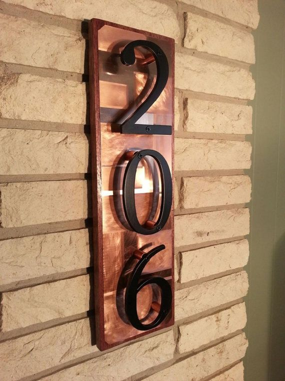 Copper art house number address sign copper on mahogany wood Home Numbers Wood address plaque Custom address numbers