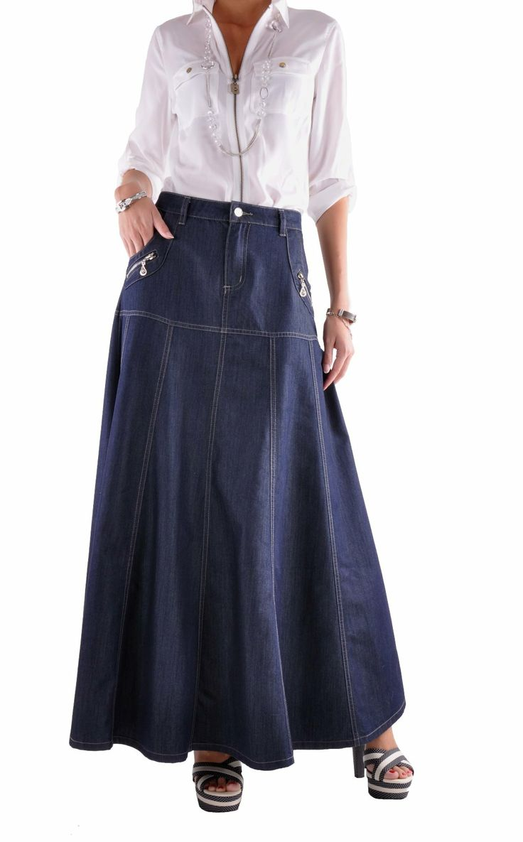 Modest Navy Classy Long Jean Skirt from Style J.