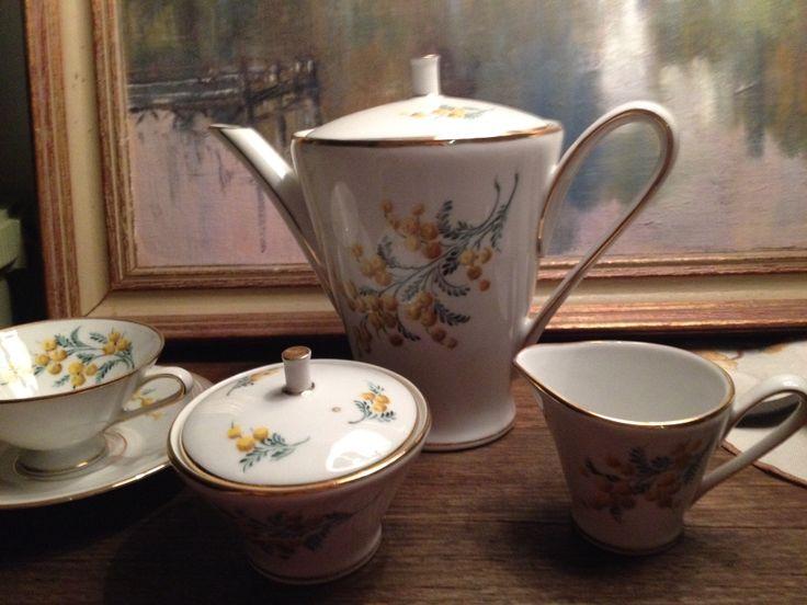 Beautiful wattle china tea set