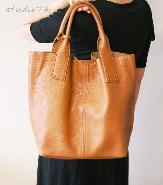 vintage handmade tote of unlined cowhide leather in tan brown from studio 731 on etsy