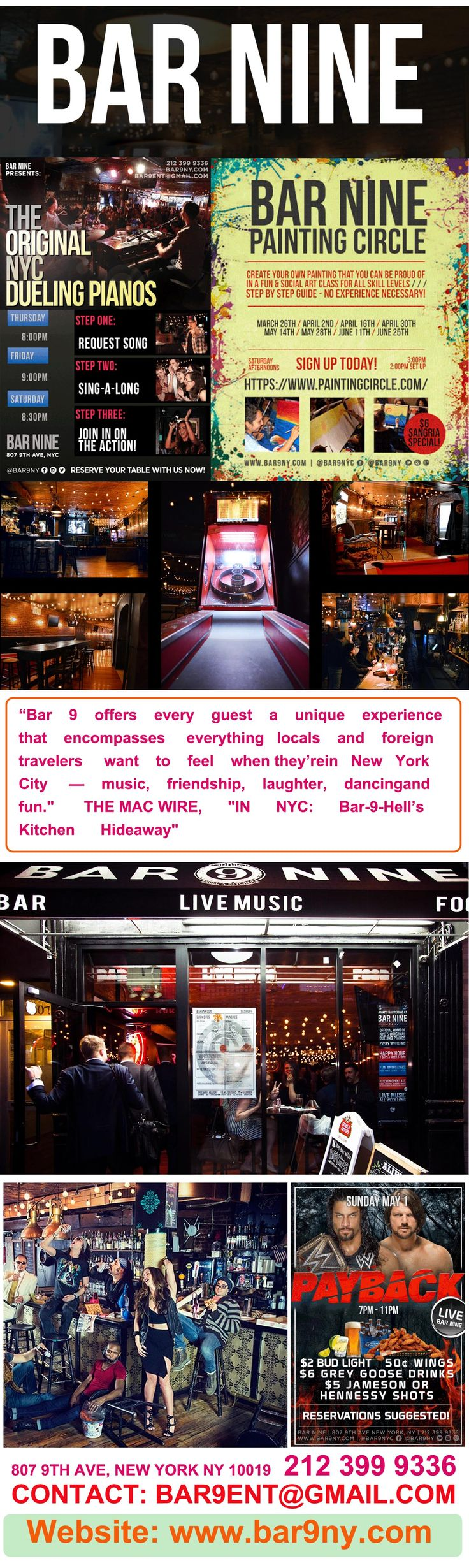 Are you in NYC and searching for a bar with live piano music? Your search ends here. Come at Bar 9 to enjoy live music show and request your favorite music to sing-a-long. We are one of the best piano bars in NYC, which is known for our quality service and awesome hospitality. Our A-list talent will have you dancing, laughing and singing along to your favorite hits of all time. For more information regarding our pianos show, visit bar9ny.com.
