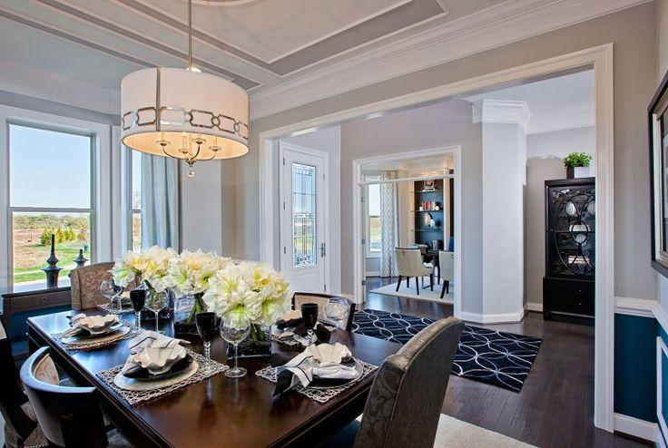 model home interiors - trim in ceiling, shelves in living room