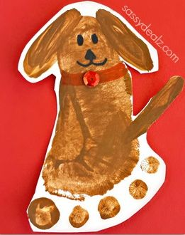 Have your kids make this cute footprint dog craft using their feet and paint! It's an easy and cheap keepsake art project for parents....this puppy is super cute!