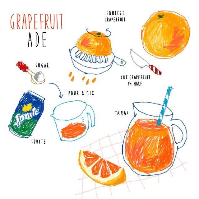 really LOVE fruitbased beverages especially in summer ! #grapefruit #ade #recipe #illustration . . 살인적인 더위와 여러군데 헐어있는 입안때문에 하루종일 지쳐있었던 오늘의 초간단 레시피는 사이다로 간단하게 만드는 #자몽 #에이드 난 이런 심플한게 사실 제일 좋더라 . . .
