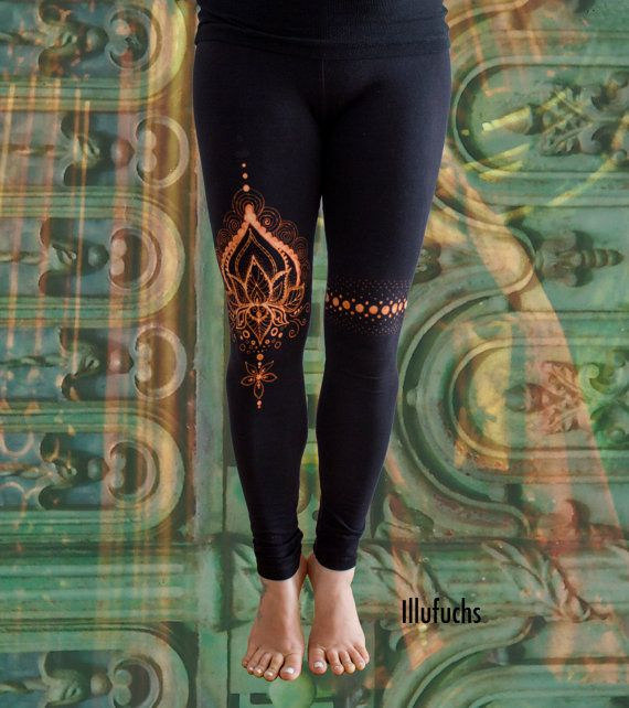 bleached Yoga/Goa Leggings Lotus by DerIllufuchs on Etsy
