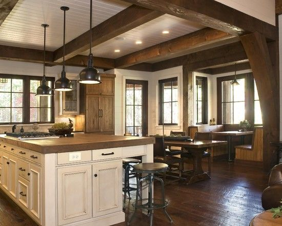 Vivacious Rustic Lake House With Spectacular View Awesome Rustic Kitchen Design Wooden Ceiling