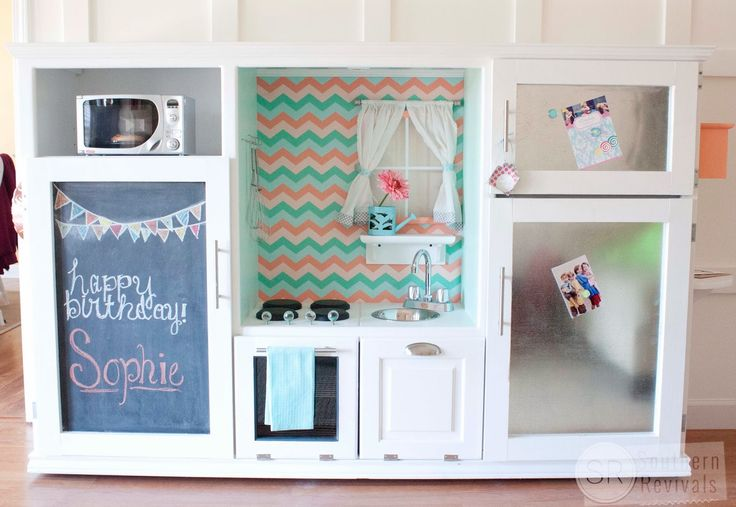Instead, create a faux cooking space for your kids. This one's much more special than anything you'd find at a store — and you can even treat them to a stainless steel fridge! Get the tutorial at Southern Revivals »  - GoodHousekeeping.com