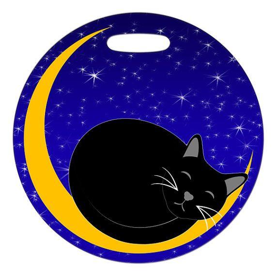 Luggage Tag  Sleepy Kitty  Round Large Plastic Bag by ebonypaws